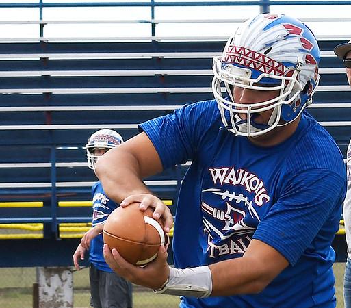 Waukomis' Cooper Wieden catches a pass during practice at Waukomis High School Wednesday October 17, 2018. (Billy Hefton / Enid News & Eagle)