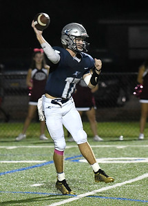 Enid's TMaddux Mayberry throws a pass against Jenks Friday, October 4, 2019 at D. Bruce Selby Stadium. (Billy Hefton / Enid News & Eagle)