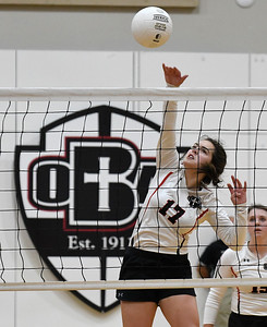 OBA's Sydeny Winter hits the ball against Amber- Pocasset during a regional tournament Thursday, October 3, 2019 at Oklahoma Bible Academy. (Billy Hefton / Enid News & Eagle)