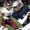 Enid's Daigen Gibbens turns upfield after making a catch against Edmond Memorial Friday, October 25, 2019 at D. Bruce Selby Stadium. (Billy Hefton / Enid Nws & Eagle)