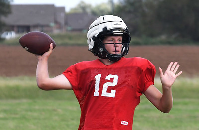 OBA's Baron Winter throws a pass during practice Tuesday, October 1, 2019 at Oklahoma Bible Academy. (Billy Hefton / Enid News & Eagle)