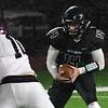 Pond Creek-Hunter's Nic Hamblin carries the ball against Waynoka Thursday, October 24, 2019 at Pond Creek-Hunter High School. (Billy Hefton / Enid News & Eagle)
