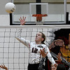 OBA's Reese Westrope hits the ball against Amber- Pocasset during a regional tournament Thursday, October 3, 2019 at Oklahoma Bible Academy. (Billy Hefton / Enid News & Eagle)