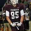 Pioneer's Brandon De La Torre flexs after sacking the Seiling quarterback August 28, 2020 at Pioneer High School. (Billy Hefton / Enid News & Eagle)