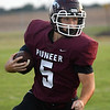 Pioneer's Caden Humphries Carries the ball against Cheriokee September 11, 2020 at Pioneer High School. (Billy Hefton / Enid News & Eagle)