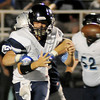Enid's Austin Duplantis (42) hits Bartlesville quarterback Colton Penrod from behind, causing a fumble that Plainsmen's Christian Voitik recovered during the first half of the homecoming game at D. Bruce Selby Stadium Friday, Sept. 27, 2013. (Staff Photo by BONNIE VCULEK)