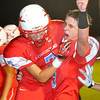 Chisholm's Danner Kierman and Mason McKee celebrate following the Longhorn's 21-13 win over the Alva Goldbugs. (Staff Photo by BILLY HEFTON)