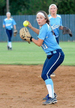 Abby Lee sets to make a throw to first against Ponca City Tuesday at Pacer Field. (Staff Photo by BILLY HEFTON)