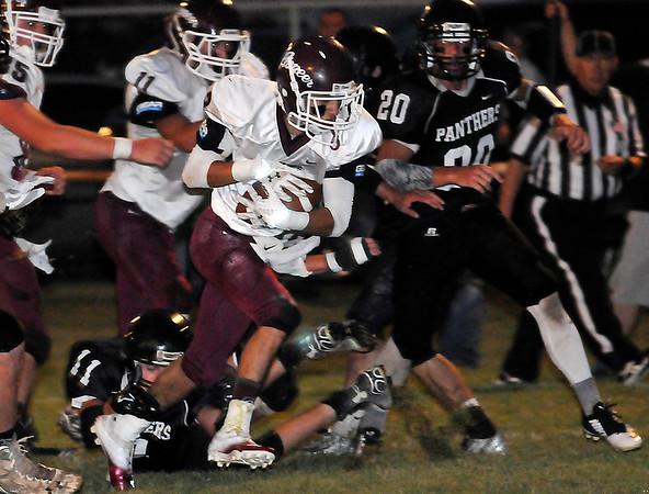 Pioneer's Ignacio Torres runs for a touchdown against Pond Creek-Hunter Friday September 18, 2015. (Billy Hefton | Enid News & Eagle)