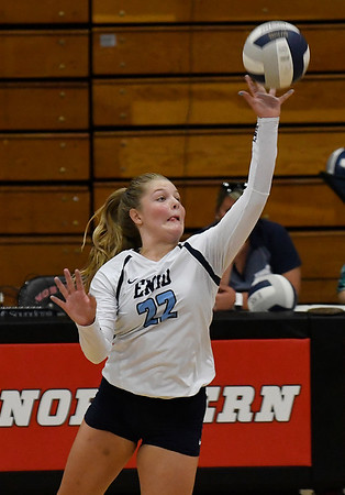 Enid's Catherine Cunningham hits the ball against Tulsa Kelley Tuesday September 11, 2018 at the NOC Mabee Center. (Billy Hefton / Enid news & Eagle)