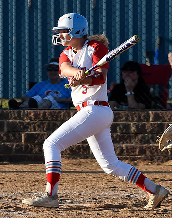Chisholm's Brittan Crabtree drives in the winning run in the bottom of the 7th inning against Pioneer Tuesday September 18, 2018 at Chisholm High School. (Billy Hefton / Enid News & Eagle)