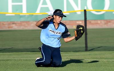Enid's Tori Jackson makes a sliding catch in centerfield against Choctaw Monday September 10, 2018 at David Allen Memorial Ballpark. (Billy Hefton / Enid News & Eagle)
