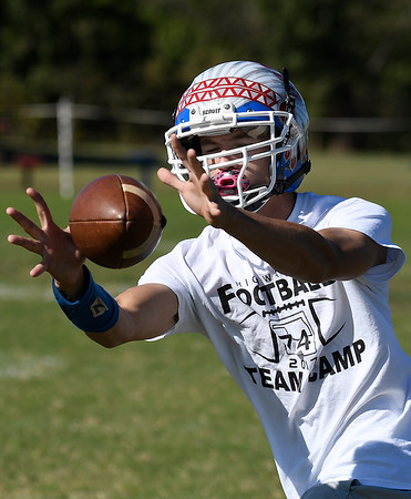 Waukomis' Devin Wagner catches a pass during practice Thursday September 27, 2018 at Waukomis High School. (Billy Hefton / Enid News & Eagle)