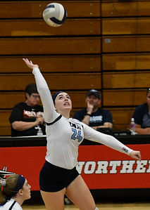 Enid's Gabi Cotarelo hits the ball against Tulsa Kelley Tuesday September 11, 2018 at the NOC Mabee Center. (Billy Hefton / Enid news & Eagle)