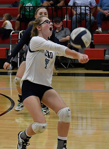 Enid's Rachel Doherty returns the ball against Tulsa Kelley Tuesday September 11, 2018 at the NOC Mabee Center. (Billy Hefton / Enid news & Eagle)