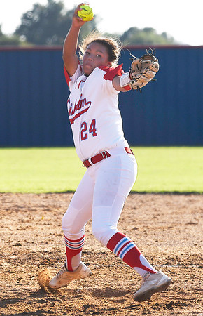 Chisholm relief pitcher, Tatum Long, delivers a pitch against Pioneer Tuesday September 18, 2018 at Chisholm High School. (Billy Hefton / Enid News & Eagle)