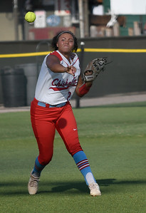 Chisholm's Tatum Long makes a throw to first against Enid Tuesday, September 17, 2019 at David Allen Memorial Ballpark. (Billy Hefton / Enid news & Eagle)