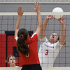 Chisholm's Aly Myers hits the ball against OBA's Emmie Lichty Monday September 9, 2019 at Chisholm Middle School. (Billy Hefton / Enid News & Eagle)