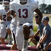 Pioneer's Marzel Washington goes through drills at the start practice Wednesday, September 11, 2019 at Pioneer High School. (Billy Hefton / Enid News & Eagle)