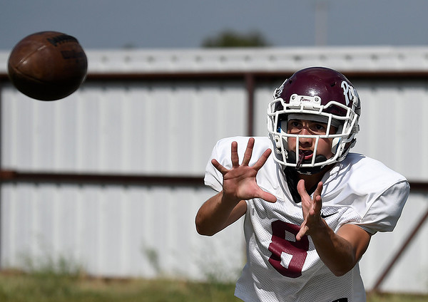 Pioneer's Gavin Spargo catches a pass during practice Wednesday, September 11, 2019 at Pioneer High School. (Billy Hefton / Enid News & Eagle)