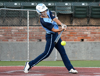 Enid's Kylee Stanley gets a hit against Chisholm Tuesday, September 17, 2019 at David Allen Memorial Ballpark. (Billy Hefton / Enid news & Eagle)
