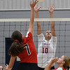 OBA's Emmie Lichty uses her fingertips to get the ball over the net against Chisholm's Raylee Savage Monday September 9, 2019 at Chisholm Middle School. (Billy Hefton / Enid News & Eagle)