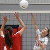 Chisholm's Gabby Bartley hits the ball against OBA's Emmie Lichty Monday September 9, 2019 at Chisholm Middle School. (Billy Hefton / Enid News & Eagle)