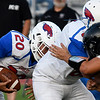 Deer Creek-Lamont'sPalladin Compala follows Cade Light on a quarterback sneak against Pond Creek-Hunter Thursday, September 19, 2019 at Panther Field in Pond Creek. (Billy Hefton / Enid News & Eagle)