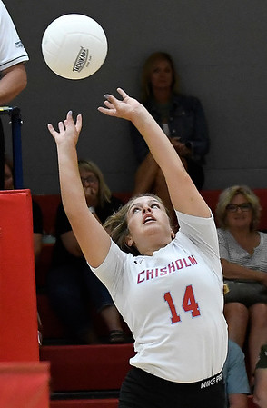 Chisholm's Hallie King knocks the ball over the net against OBA Monday September 9, 2019 at Chisholm Middle School. (Billy Hefton / Enid News & Eagle)