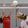 OBA's Sydeny Winter attempts to block the shot of Chisholm's Brooklyn Willson Monday September 9, 2019 at Chisholm Middle School. (Billy Hefton / Enid News & Eagle)