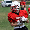 Chisholm's Heston Daniels turns upfield after making a catch during practice Tuesday, September 1, 2020. (Billy Hefton / Enid News & Eagle)