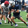 Enid's Johnny Villa carries the ball during practice Wednesday, September 2, 2020 at D. Bruce Selby Stadium. (Billy Hefton / Enid News & Eagle)