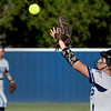 Enid's Jesslyn Stuber catches a pop up against Tulsa Tuesday, September 14, 2021 at Pacer Field. (Billy Hefton / Enid News & Eagle)