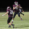 Pioneer's Ty Parker intercepts a pass against Laverne Thursday, September 23, 2021 at Pioneer High School. (Billy Hefton / Enid News & Eagle)