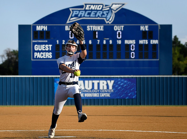 Enid's Camryn Patterson delivers a pitch against Tulsa Tuesday, September 14, 2021 at Pacer Field. (Billy Hefton / Enid News & Eagle)