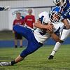Waukomis's Ricky Woodruff lunges for yardage against Covington-Douglas Friday, September 24, 2021 at Covington-Douglas High School. (Billy Hefton / Enid News & Eagle)