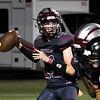 Garber's Brett Howry looks for a reciever runs against Pond Creek-Hunter Friday, September 24, 2021 at Garber High School. (Billy Hefton / Enid News & Eagle)