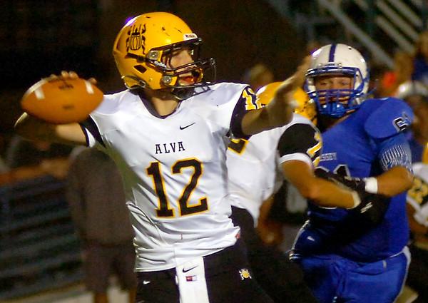 Alva Goldbugs vs Hennessey Eagles at Hennessey High School Friday, Sept. 26, 2014. (Staff Photo by BONNIE VCULEK)