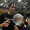 Chance Comanche accepts the Finals MVP trophy following the Outlaws 120-107 win over Syracuse to claim the TBL title Saturday, July 24, 2021 at the Stride Bank Center. (Billy Hefton / Enid News & Eagle)
