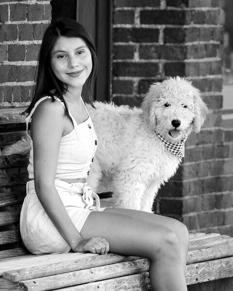 11 x 14 isabella and dog bw