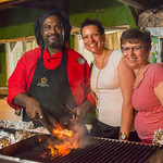 2015-01 Barbados Trip_0228 Lindsey & Anita with our Cook, Big Sexy, at Oistens Fish Fry