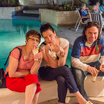 2015-01 Barbados Trip_0237 Anita, Lindsey & Daniel Relaxing with Their Pina Coladas at our Club Barbados Resort