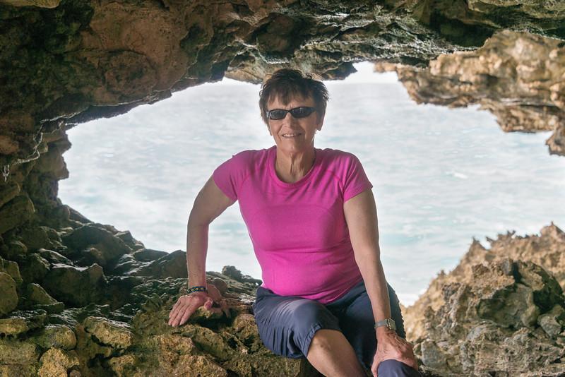 2015-01 Barbados Trip_0264 Anita in the Animal Flower Cave