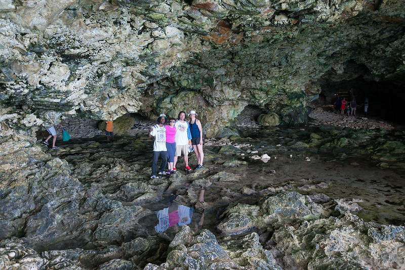 2015-01 Barbados Trip_0266 Anita, Daniel & Lindsey with our Guide in the Animal Flower Cave