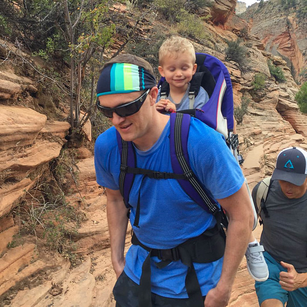 2015-10-17 Enloe Family at Zion National Park_0011 - Jeff & Walker Coming Down from Angels Landing