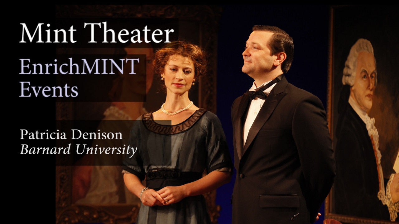 "Patricia Denison—Part 7: Can you elaborate on the use of the family portraits throughout the production?<br /> <br /> Patricia Denison, professor of dramatic literature at Barnard College and author of ""John Osborne: A Casebook"" visits Mint Theater to discuss MARY BROOME by Allan Monkhouse.  In this video segment, she and director, Jonathan Bank, discuss Roger Hanna's set design and the giant family portraits that, throughout the production, reveal more than what initially meets the eye.  September 8, 2012.  Video by Joshua Paul Johnson."