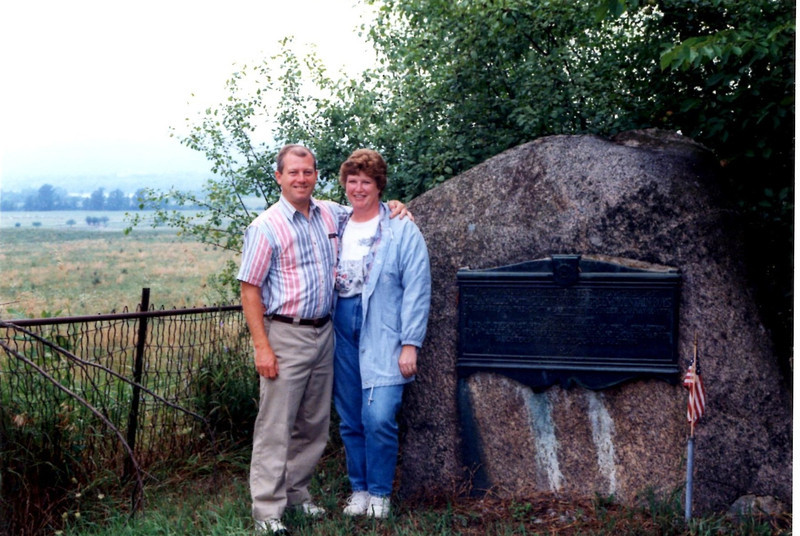 The marker as it looked in August 1996. Note the view down to the lake.