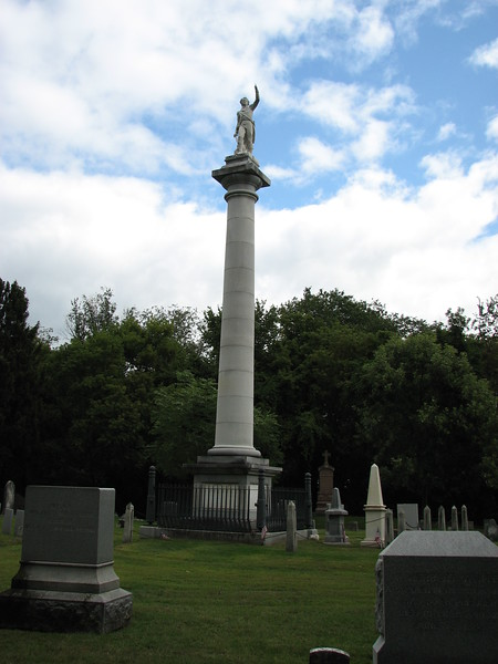 As you drive into the cemetery from Colchester Av, look to your left for this tall column. It marks Ethan Allen's grave, and the Allen family plot.