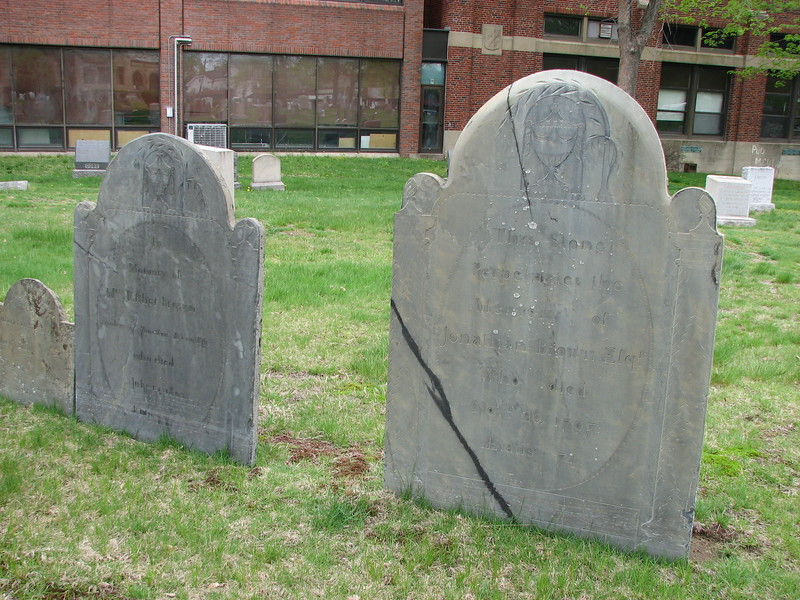 Brown's stone is on the right, with the diagonal crack, and his wife's is to the left