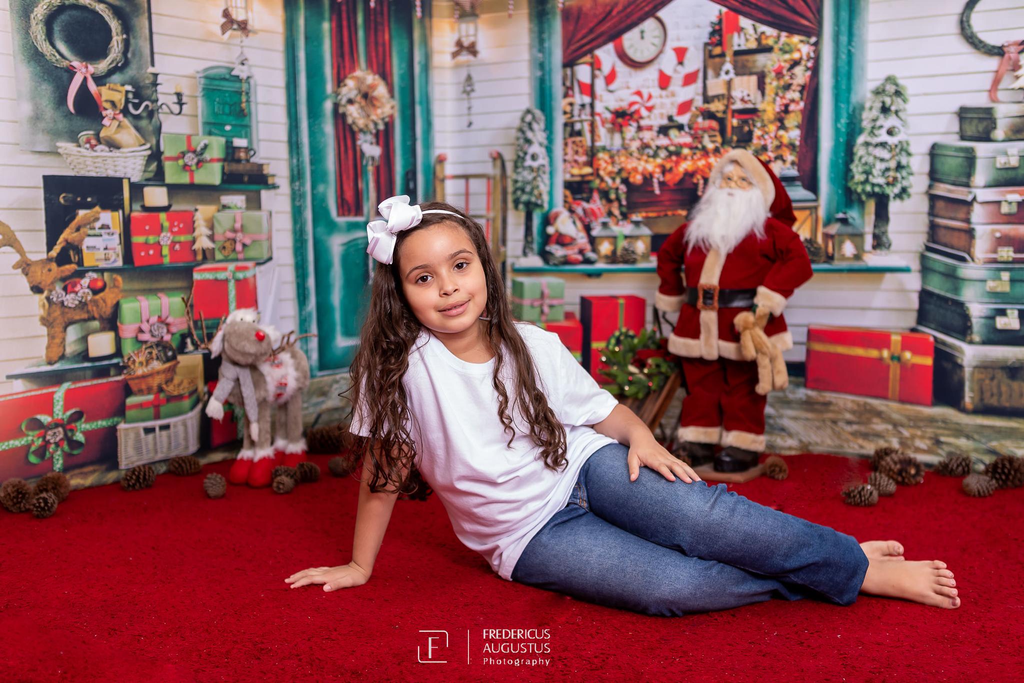 ensaio fotografico de Natal da minha fofa Ana Luísa, com cenário em 3D